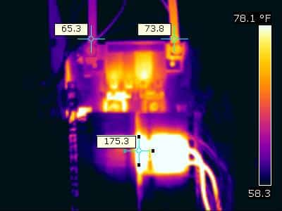 Infrared image of overheating electrical component